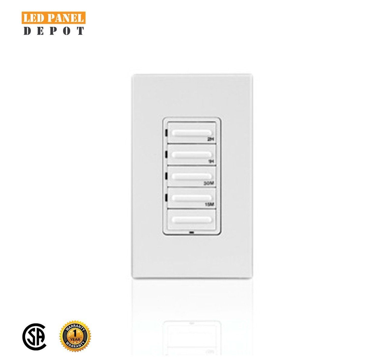 Leviton 155 155 155 155 Minute Countdown Timer Switch, Preset, Decora 155W  Incandescent/155A Resistive inductive 15HP